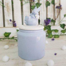 pote liso com tampa de ceramica azul e branco 1820462 cromus casa cafe mel 1