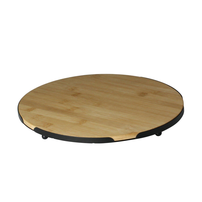 bandeja redonda de bambu com suporte de metal 28x28cm 7973 lyor casa cafe mel
