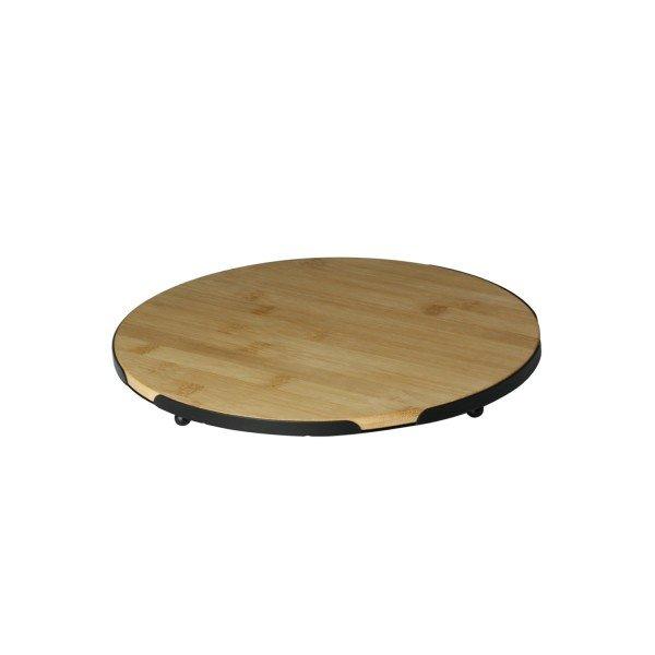 bandeja redonda de bambu com suporte de metal 18x18cm 7972 lyor casa cafe mel