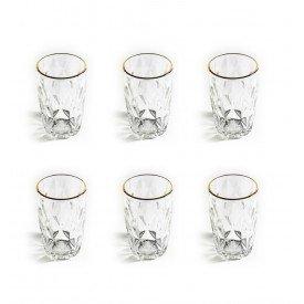 jogo de copo alto vidro diamond filete dourado 7988 lyor casa cafe mel 4