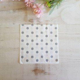 guardanapo de papel 20 pecas poa branco com bolinha cinza casa cafe e mel