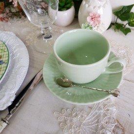 xicara de cha porcelana diamante verde menta individual gemer casa cafe e mel
