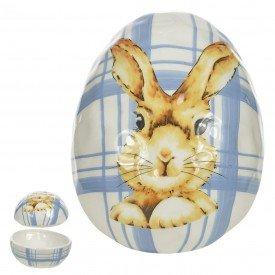 ovo decorativo pascoa ceramica xadrez azul 68698001 casa cafe mel