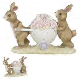 coelhos com carrinho de resina marrom branco 68923001 casa cafe mel