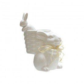 vaso pascoa coelho com filhote ceramica branco 69342001 casa cafre mel 2