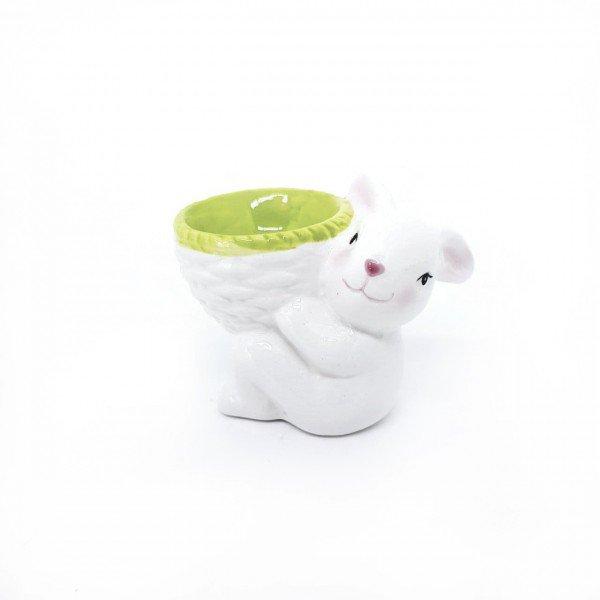 coelho decorativo em ceramica com cesta verde h20815 ve casa cafe mel 1