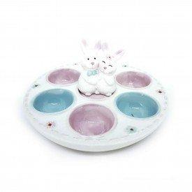 porta ovo coelho duplo decorativo em ceramica 20 5cm h20819 casa cafe mel 1
