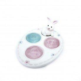 porta ovo com coelho decorativo em ceramica 17cm h20818 casa cafe mel 4
