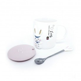 caneca com tampa pascoa lovely rabbit 400ml h20838 casa cafe mel 3
