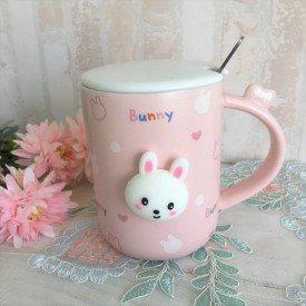 caneca com tampa pascoa bunny rosa 380ml casa cafe e mel