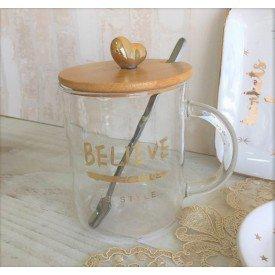 caneca de vidro com tampa de madeira beleve 450ml casa cafe e mel