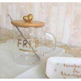 caneca de vidro com tampa de madeira free 450ml casa cafe e mel
