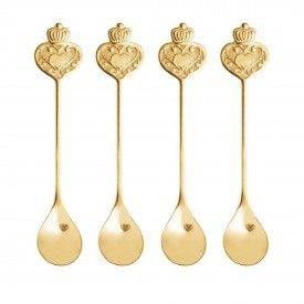 conjunto de colheres para cha inox key dourado 28286 casa cafe mel 7