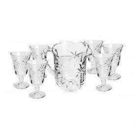 conjunto 7 pecas jarra 6 tacas cristal palmeira transparente 7445 lyor casa cafe mel 1