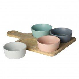petisqueira com bandeja de bambu e 4 potes de ceramica 7977 lyor casa cafe mel
