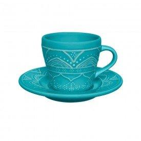 xicara de cha com pires porcelana serena turquesa 076518 oxford casa cafe mel