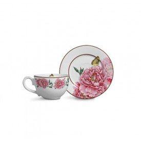 xicara para cha com pires bouquet branco 6 pecas 1722339 scalla casa cafe mel