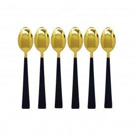 jogo de colher para sobremesa dourado com cabo preto 6 pecas 2260 p casa cafe mel 3
