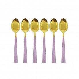 jogo de colher para sobremesa dourado com cabo rose 6 pecas 2260 r casa cafe mel 3