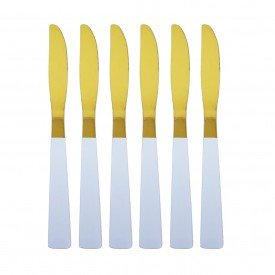jogo de facas douradas com cabo branco 6 pecas 2261 b casa cafe mel 4