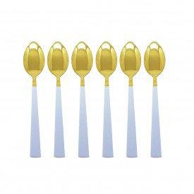 jogo de colher para sobremesa dourado com cabo branco 6 pecas 2260 casa cafe mel 4