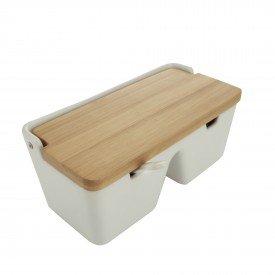 saleiro de mesa de ceramica com tampa de bambu com 2 divisoria 8569 lyor casa cafe mel 3