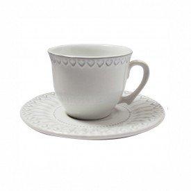 xicara com pires ceramica sollievo sophie 200ml individual branco 202508 copa e cia casa cafe mel