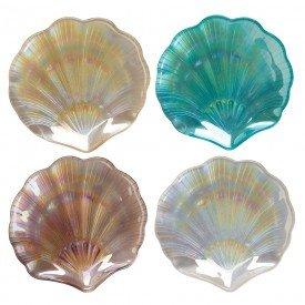 petisqueira de vidro concha do mar 4 pecas 14cm 26364 full fit casa cafe mel 1