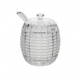 acucareiro de cristal com tampa e colher tress 1137 lyor casa cafe mel