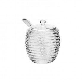 acucareiro de cristal com tampa e colher colmeia 1317 lyor casa cafe mel