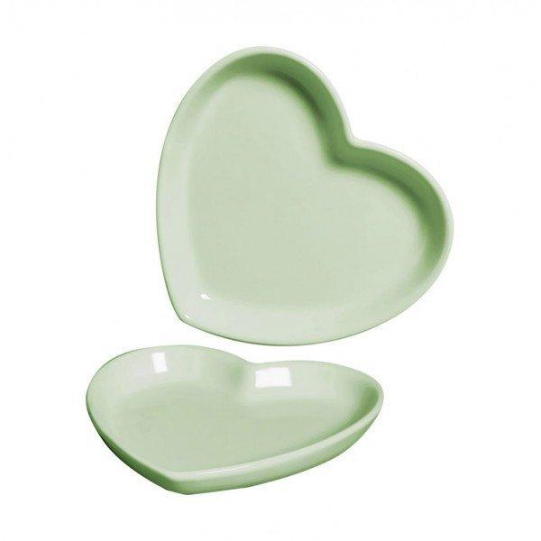 mini prato ceramica decorativo coracao verde 79 388v silveira casa cafe mel