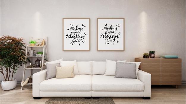 molduras de poster na maquete da sala de estar 1150 36256