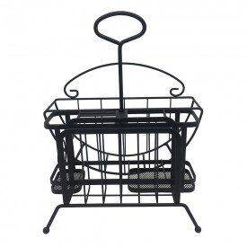 suporte de ferro para pratos e talheres preto 25622 l hermitage casa cafe mel 1