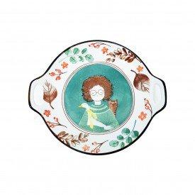travessa redonda ceramica com alca esta menina 062147 pra caza casa cafe mel 1