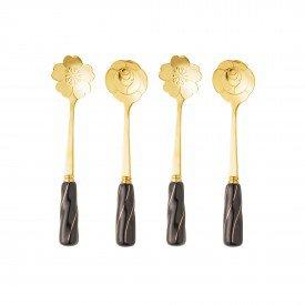 jogo de colher para cha 4 pecas flower dourado cabo preto 28283 bon gourmet casa cafe mel 10