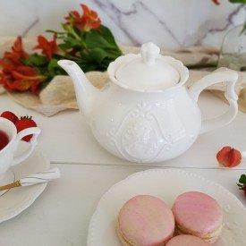 8566 bule para cafe porcelana super white queen lyor 1l casa cafe e mel
