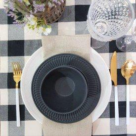 22101 trilho para mesa tecido impermeavel amora casa xadrez cinza casa cafe e mel