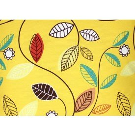 jogo americano aquamarine amarelo folhas colorida 517 cortbras casa cafe mel