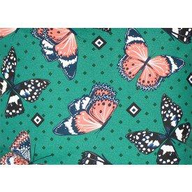 jogo americano aquamarine fundo verde com borboletas 510 cortbras casa cafe mel