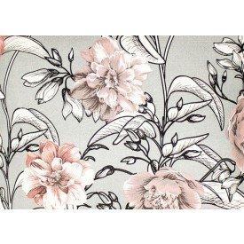 jogo americano de tecido agata cortbras cinza floral 7507 casa cafe e mel