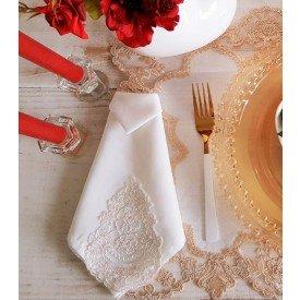gt 0721 guardanapo de tecido engomado com renda flor 4 pecas casa cafe mel