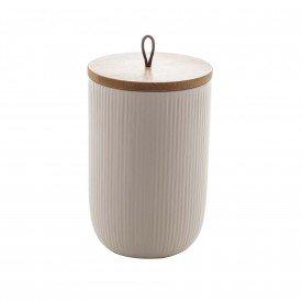pote de ceramica com tampa bambu 15cm branco 8670 lyor casa cafe mel 2