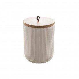 pote de ceramica com tampa bambu 13cm branco 8671 lyor casa cafe mel 3