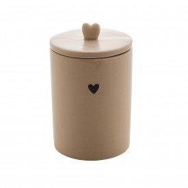 pote de ceramica com tampa heart 15cm bege 8678 lyor casa cafe mel 2