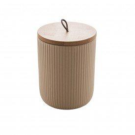 pote de ceramica com tampa bambu 13cm bege 8673 lyor casa cafe mel 1