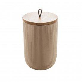 pote de ceramica com tampa bambu 15cm bege 8672 lyor casa cafe mel 1