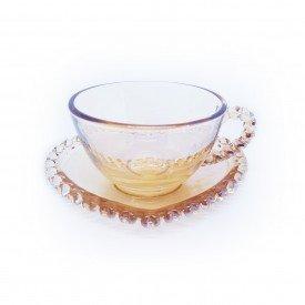 xicara cha cristal com pires de coracao 170ml ambar 1681 ly lyor casa cafe mel 7
