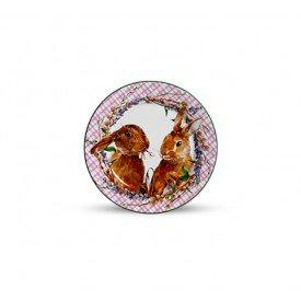 prato sobremesa ceramica pascoa bunny rosa 6 pc 2872295 scalla casa cafe mel