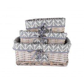 cesto organizador forrado com tecido cinza com linha branca dc0007 cb casa cafe mel