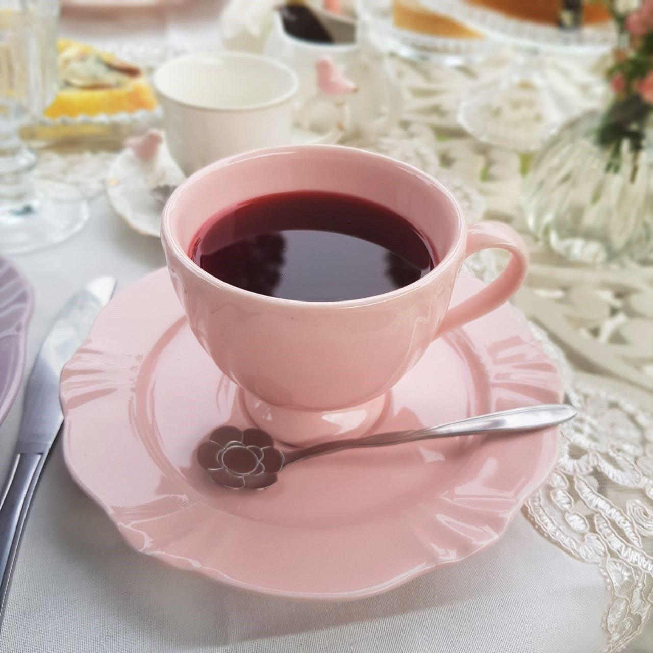 089848 xicara cha com pires porcelana 6 pecas 200ml soleil blush oxford casa cafe mel
